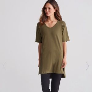 Eileen Fisher olive green cotton jersey tunic top